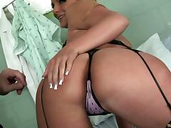 Slutty milf in stockings and a garter belt fucked hard