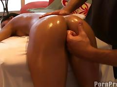 Tanned beauty Amia Miley getting shagged during the massage
