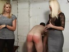 Nice Mistresses Give a Spanking in the garage (part 2)