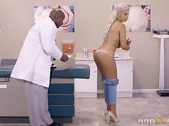 Chocolate doctor cures the sexy blonde with his massive cock