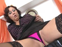 Angelic matured granny with big tits drilling her sex hole using nice toy