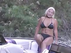 Blond with papaya titties takes a facial