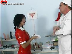 Doctor knows how to solve the troubles of this arousing teen nurse