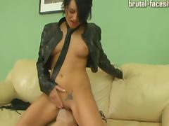 Thriving tattooed Russian babe in leather jacket having her pussy licked