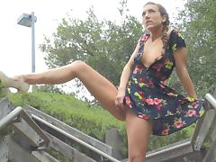 Ravishing starlet Ruby enjoys fingering her juicy snatch in public