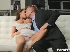Classy chick lets the business guy poke her pussy with vigor