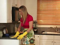 Mom and Boy, Babe, Blonde, Fingering, Fucking, Kitchen