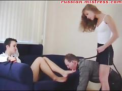 naughty stud enjoys licking two Russian babes' sexy feet