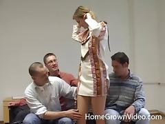 Gangbang, Blonde, Blowjob, Close Up, Cowgirl, Doggystyle