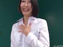 Japanese hot ass dame in miniskirt loves office blowjob