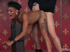 Toy fetish slave yelling when screwed using strapon in BDSM