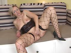 Sassy matured damsel displaying her big ass when masturbating
