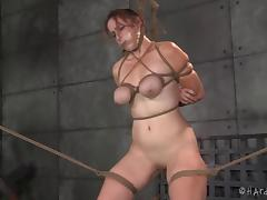 Tying the redhead's juicy tits as tight as possible!