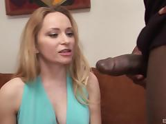 Hot blonde bitch rides on top of a monster black dick