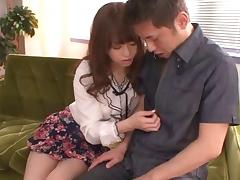 Sassy Japanese harlot Akiho enjoys riding on top of stiff cocks