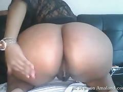fat chick opens her legs and masturbates on the webcam