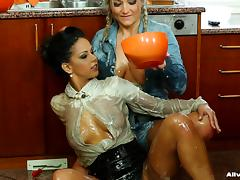 Elegant lesbian housewife wants to play with the blonde plumber