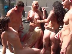 Smoking hot starlets get nailed really hard in a kinky orgy