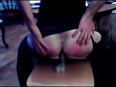 Crossdresser blowjob and ridding her dildo