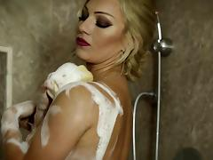 Soapy blonde fingering her pussy then fucked hardcore missionary