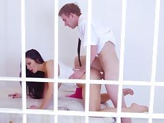 Aletta Ocean sucks and fucks heavy cock while imprisoned
