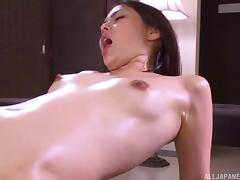 Oiled cutie called Saryuu and the first group sex of her career