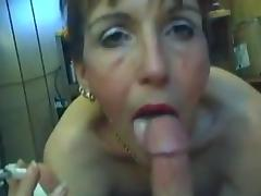 Smoking Mature with Cum Shot.