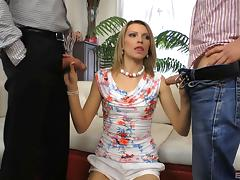 Attacking the sexy Lana Roberts with cocks and making her very happy