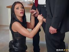 Black-haired lass called Adriana thinks that she's ready for two cocks