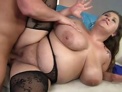 Fat babe feels happy that this guy wants to explore her depths