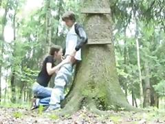 Ama couple blowjob in the forest