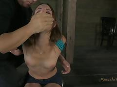 Amber's evil captor ties her up and attacks her sweet vagina