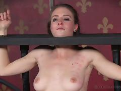 Foxy harlot gets restrained and pleasured with sex toys