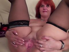Old, Mature, Old, Pussy, Redhead, Stockings
