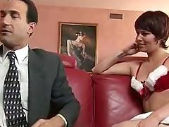 Short hair slut gets nailed on the sofa