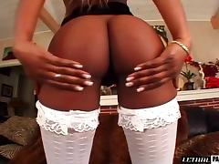 Big black butt ebony in stockings giving cock superb blowjob