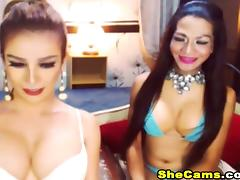 Two Hot Asian Shemale Jerk Off on Cam