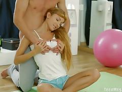 Petite hottie Lisa C gets banged by her hung trainer