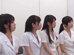 Japanese cuties having a cock stroking competition