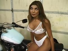 Hot Brunette Blows Massive Cock