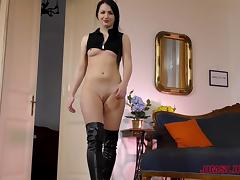 Kittina drops on her knees for a fellow's erected member