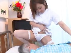 Slutty nurse from Japan doing a horny patient with pleasure