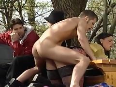 Flashing, Bisexual, Facial, Flashing, Gangbang, Hardcore