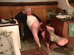 Redhead In Stockings Fucked By Old Man