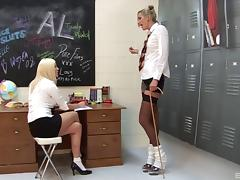 Hot erotic moments in a classroom with Angel Long and Michelle Louise