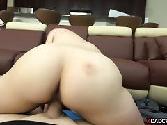 Cute blonde stepdaughter gets fucked by her horny stepdad