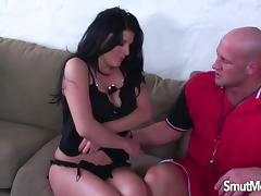 Super hot brunette gets her pussy stretch with big cock