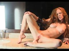 Slim redhead that is small toilet dildo
