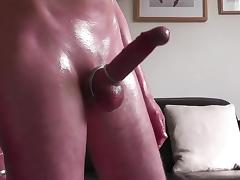 HD Soft cock foreskin play oily fun and huge handsfree cum