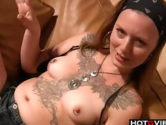 Watch this Alternative slut show off her body and finger her pussy while on the couch